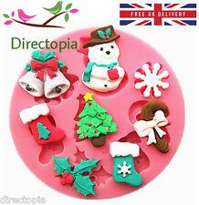NATALE IN SILICONE ROUND FONDANT PASTA di Zucchero Torta decorazione 8 FORMA STAMPO