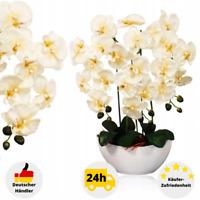 Künstliche Orchidee mit Topf Kunstblume Kunstpflanze Dekoblume 65 cm Weiß Lila