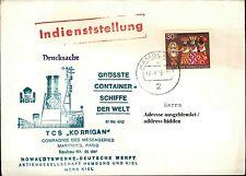 Schiffsstempel Schiff TCS KORRIGAN Indienststellung roter Langstempel auf Brief