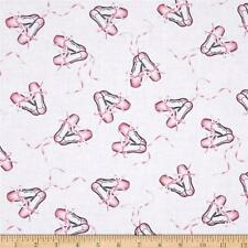 Fat Quarter Pink Ballet Slippers Shoes Dance Sewing Cotton Quilting Fabric