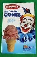 NOS 1984 Vintage Scoopy's Clown Ice Cream Cones, Sealed Box of 24
