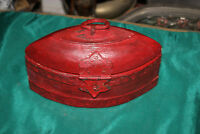 Primitive Wood Storage Box Container #2 Red Color Oval Shape Metal Handle