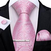 USA Mens Pink Silk Paisley Tie Set Wedding Necktie And Clip Hanky Cufflinks Ring