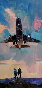 DJOSE TRUJILLO Oil Painting IMPRESSIONISM ORIGINAL Airplane MODERN VERTICAL