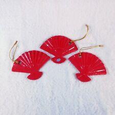 "3 Ceramic Japanese Fans Christmas Tree Decorations Red  3 1/4"" x 4"" Unique Rare"