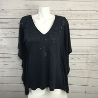 Michael Kors Navy Blue Sequin Linen V-Neck Top Poncho Size S Small