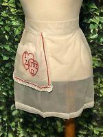 Vintage White Sheer Half Apron Retro 50's Love