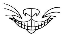 Gato de Cheshire sonrisa divertido Sticker Etiqueta de vinilo gráfico Etiqueta Negra