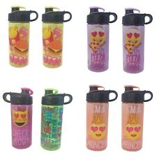 8 Pack Lot Emoji Princess Pizza Burger Plastic Water Bottle BPA Free 16oz Summer