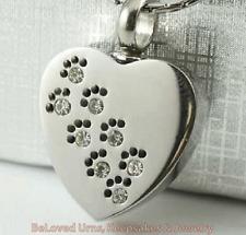 CZ Paw Print on Heart Cremation Jewelry Keepsake Pendant Urn-Dogs, Cats, Pets
