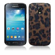For Samsung Galaxy S4 Mini Brown Leopard PU Leather Hard Back Case Cover