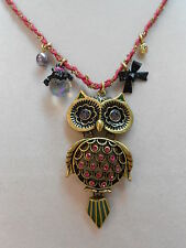 Betsey Johnson Pink Crystal Owl Critter Collection Necklace w Chain & Pink Rope
