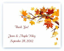 100 Custom Personalized Leaves Autumn Fall Wedding Bridal Thank You Note Cards