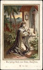 antico santino cromo-holy card S.ROSA DA LIMA
