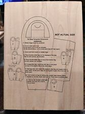 """TALL BAG TEMPLATE DIRECTIONS RUBBER STAMP INKY ANTICS 5""""X7"""" NEW"""