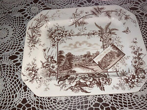 """Anglais"" Platter by William Adderley - Brown Transferware -1883- mint condition"