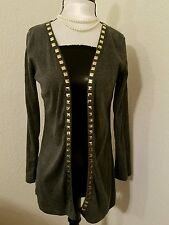 Gray cardigan studs S small long sleeve gold accents sweater top cover