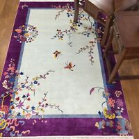 YILONG 4'x6' Purple Hand knotted Chinese Art Deco Silk Rug Butterfly Carpet