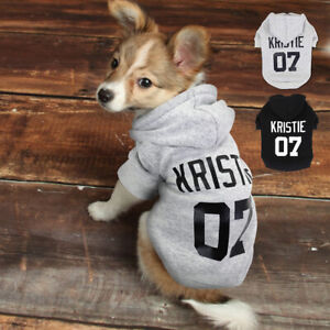 Personalised Dog Hoodie &Name Customized Pet Puppy Cat Clothes Sweatshirt Jacket