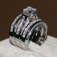 925 Silver White Sapphire Ring Set Women Wedding Engagement Jewelry Size 6-10