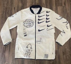Nike Nathan Bell Printed Running Jacket White Black AJ7759-133 Men's Size Medium
