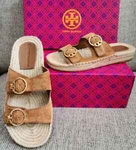 Tory Burch Selby Espadrille Slide Sandals Two Band Suede Rhum Sz 8 New