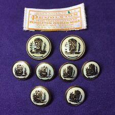 Vintage Authentic Pendleton Replacement Buttons Set Gold Metal Tone W/Enamel