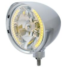 "UNITED PACIFIC ""CHOPPER"" Headlight w/ Smooth Visor - 34 Amber LED H4 Bulb 32511"