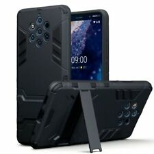 NOKIA 9 PUREVIEW ARMOURED CASE BLACK W/ STAND & MATTE SCREEN PROTECTOR-UK SELLER