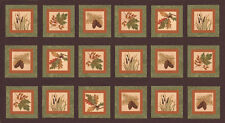 FALL IMPRESSIONS Flannel Blocks PANEL / Moda Fabric Squares Holly Taylor  Nutmeg