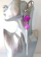 "Gorgeous 7"" long silver tone & hot pink bead & chain tassel drop earrings"