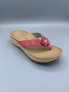 Vionic Women's High Tide Sandals Flip Flops Thong Style Beige And Pink Size 7