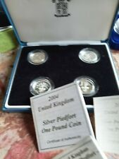 More details for uk 4 coin set 1984/5 and 2004/5 piedfort silver proof collection