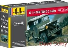 HELLER 81105 1:35th Scale US ARMY JEEP WILLIS & Trailer