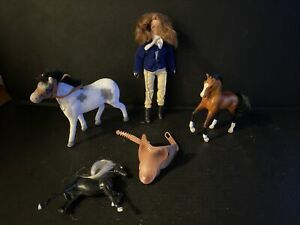Job Lot Of Small Horses And Small Doll