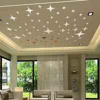 50x 3D Star Shape Ceiling Mirror Wall Sticker Art Mural Decal Home Decoration UK