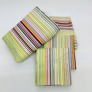 Student Lounge Striped Twin Sheet Set 100% Cotton Flat, Fitted & 2 Pillowcases