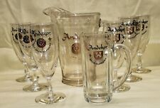 Pabst Beer Supreme Andeker Beer Pitcher Heavy Glass 6 Stemmed Glasses 1 Beer Mug