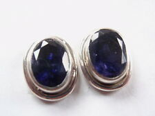 Faceted Iolite 925 Sterling Silver Oval Stud Earrings Corona Sun Jewelry