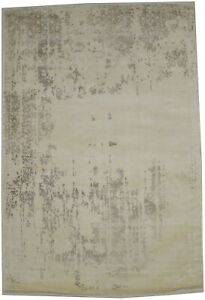 Distressed Cream Floral Design 4X6 Hand-Loomed Modern Rug Contemporary Carpet