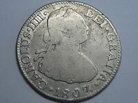 1807 MEXICO 2 REAL CHARLES IV SPANISH COLONIAL SPAIN SILVER COIN