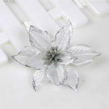 10X Ivory Gold Plated Artificial Glitter Flower Christmas Tree Ornament Decor NE