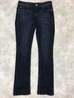 DKNY Women's Blue Dark Wash Solid Cotton Blend Zipper Boot Cut Jeans Sz 6