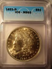 1921-D MORGAN SILVER DOLLAR MS65 ICG