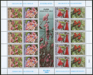 Yugoslavia 2001 Flowers - Decorative flora, Sheet with central vignette, MNH