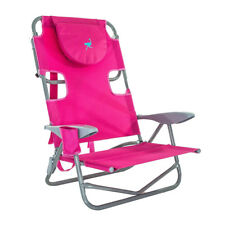Ostrich On-Your-Back Outdoor Lounge 5 Position Reclining Beach Lake Chair, Pink