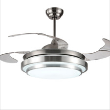 """Modern 42"""" LED Invisible Ceiling Fan Light Dining Room Chandelier Lamp+Remote"""