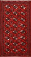 Traditional Geometric Bokhara Oriental Area Rug Hand-Knotted Wool Carpet 4x6 RED