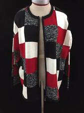 Dressbarn sweater cardigan size 18 20 color block design zip up front red black