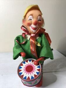 """Vintage Musical Clown with Tin Drum Wind Up Key  8"""" , Works"""